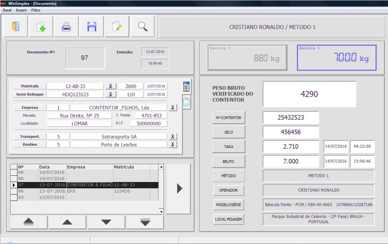 Balanças Marques weighing software adapted to the new SOLAS regulations