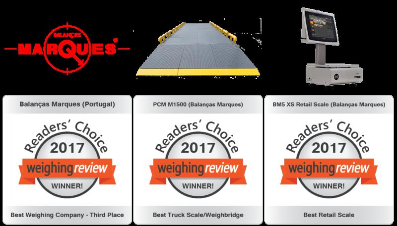Balanças Marques premiada nos Weighing Review Awards 2017!